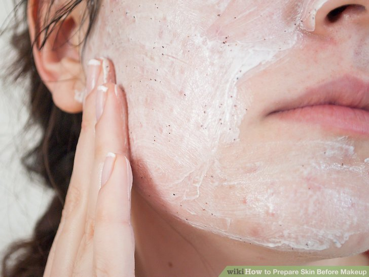 Exfoliate your clean skin and neck.