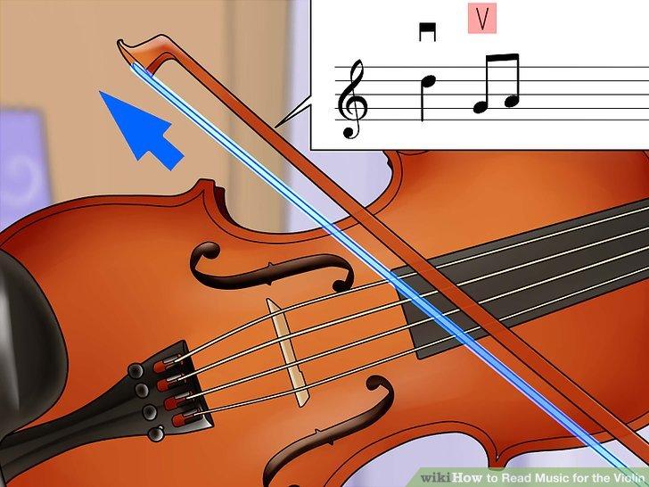 Spielen Sie den Bogen für eine V-Notation nach oben.