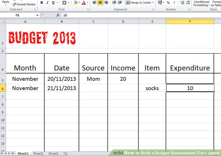 How to Build a Budget Spreadsheet (Teenagers): 13 Steps