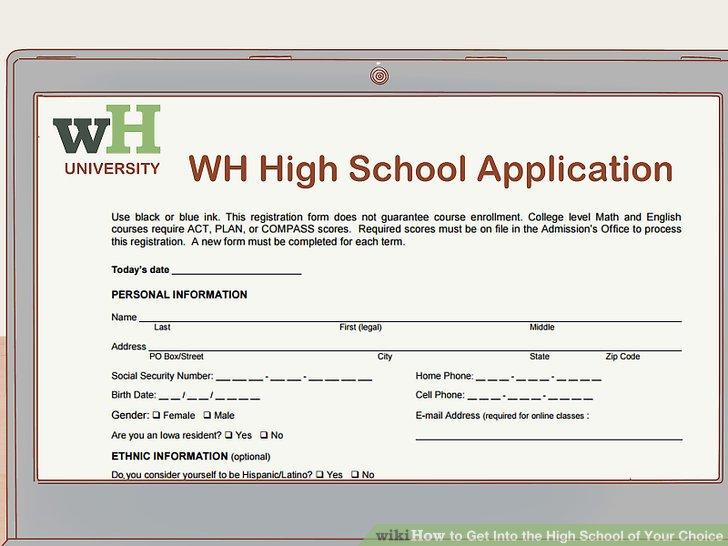 Füllen Sie die Online- oder Papierbewerbung für die Schule aus.