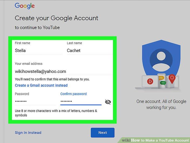 Füllen Sie das Google-Konto-Formular aus.