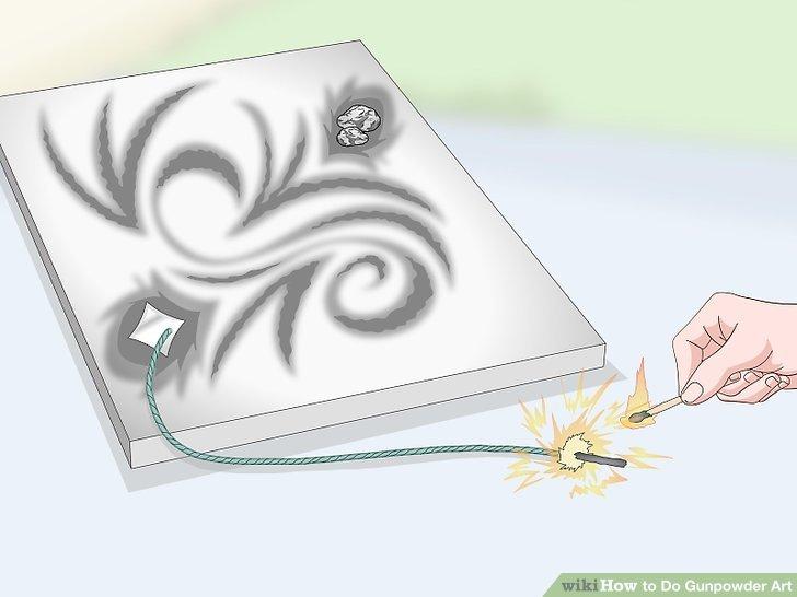 Zünden Sie die Sicherung oder das Schießpulver in der Nähe einer Kante oder Ecke des Kunstwerks an.