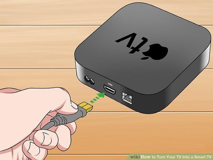 Schließen Sie ein Ende des HDMI-Kabels an die Apple TV-Box an.