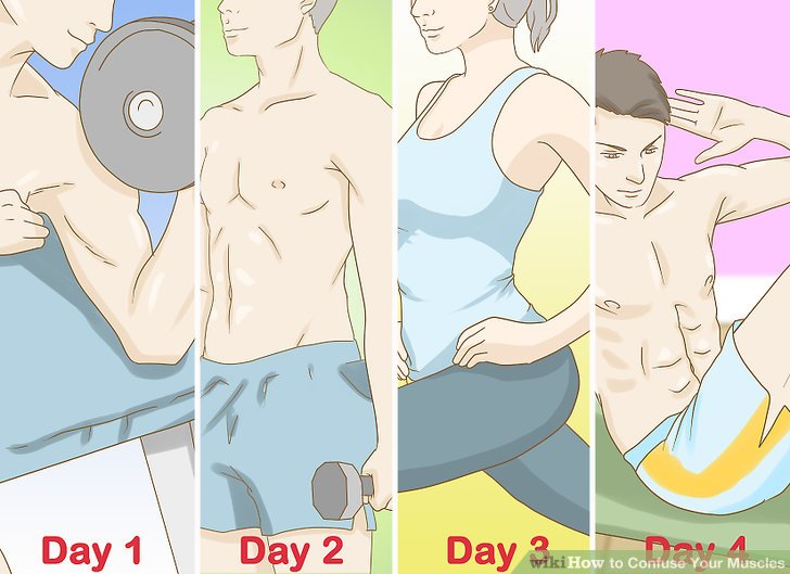 Work out different areas of your body during weeks one and two.