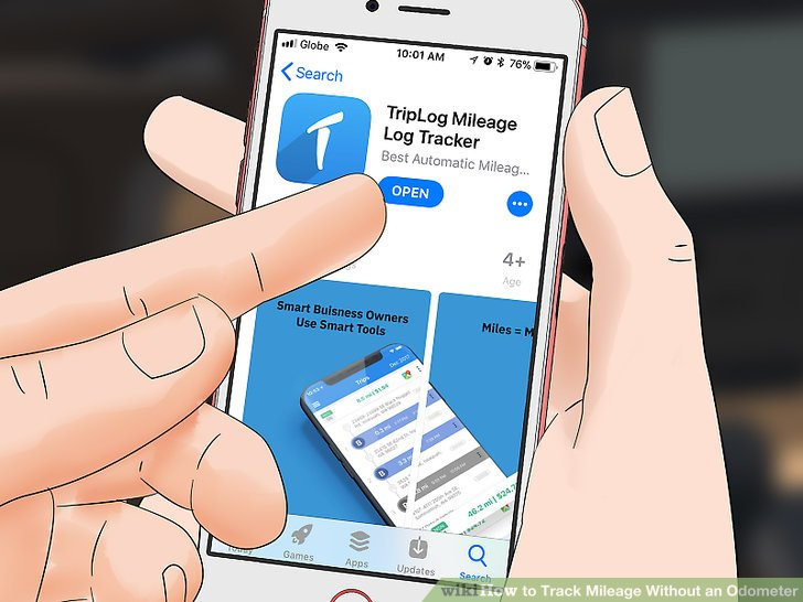 Download a mileage tracker app.