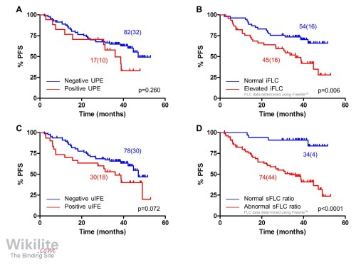 small resolution of survival outcomes according to serum and urine flc characteristics at the end of induction therapy
