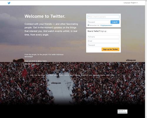 Twitter-a popular online social network, twitter home page, screenshot of twitter.com