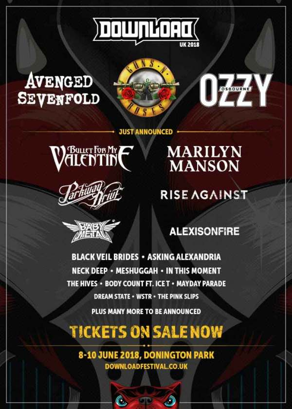 Ozzy Osbourne, Guns N' Roses e A7X serão headliners do Download Festival 2018