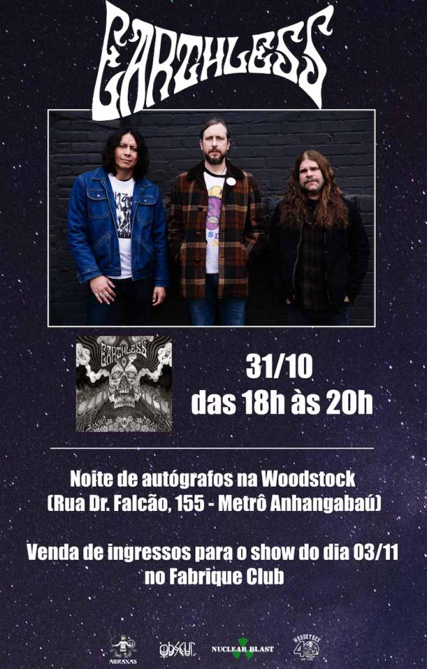 Earthless anuncia tarde de autógrafos em loja de discos em São Paulo