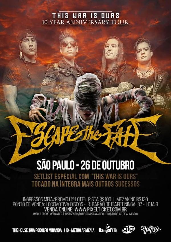 Pôster Escape the Fate no Brasil em 2019