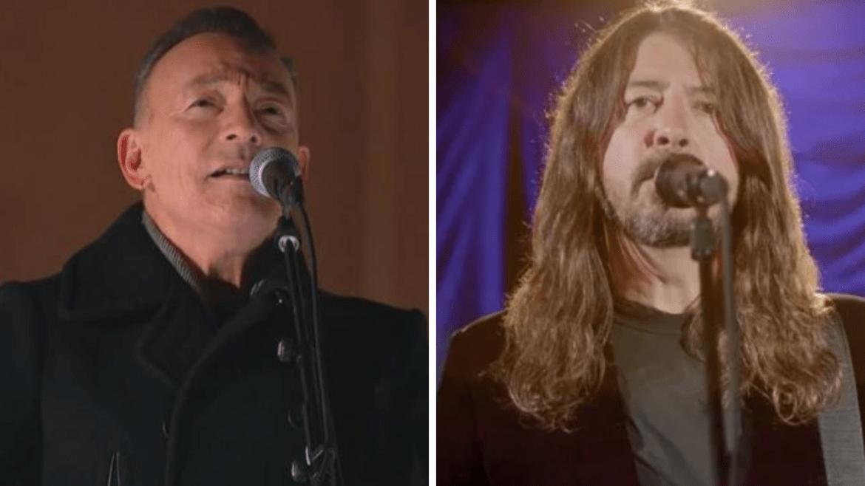 Bruce Springsteen e Dave Grohl, do Foo Fighters, no evento em celebração da posse de Joe Biden