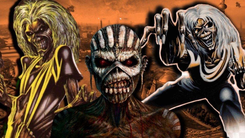 Montagem com as capas do Iron Maiden