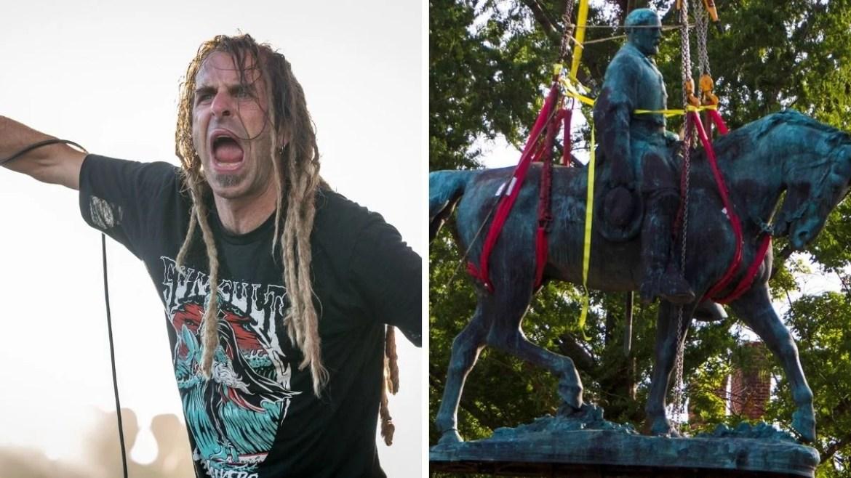 Randy Blythe, do Lamb Of God, e estátua de Robert E. Lee. Crédito: Re