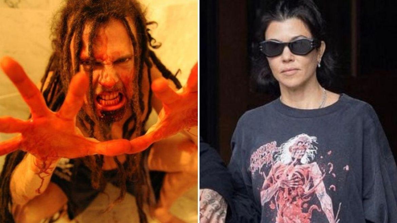 Chirs Barnes, do Six Feet Under, e Kourtney Kardashian com camiseta do Cannibal Corpse