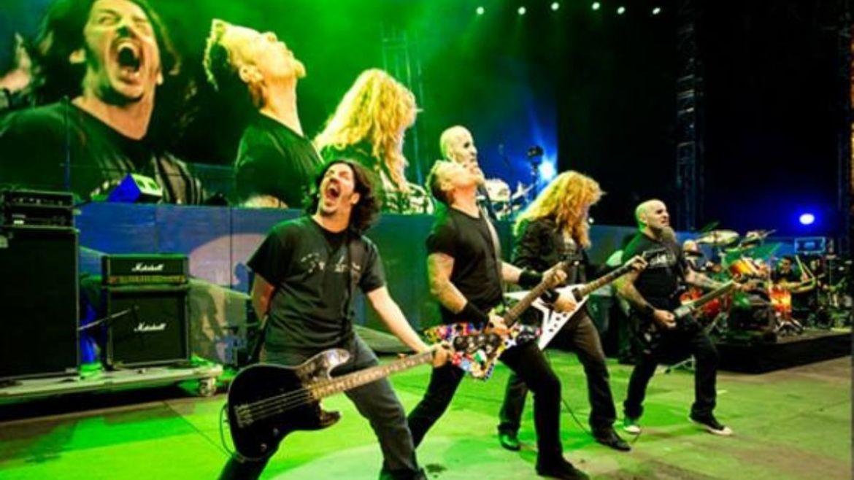 Frank Bello, James Hetfield, Dave Mustaine e Scott Ian em show de 'The ig Four'