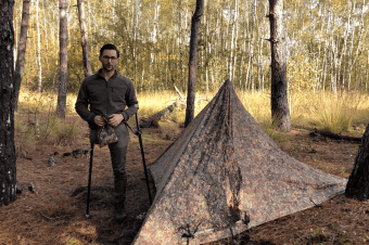 Triangle tarp set-up