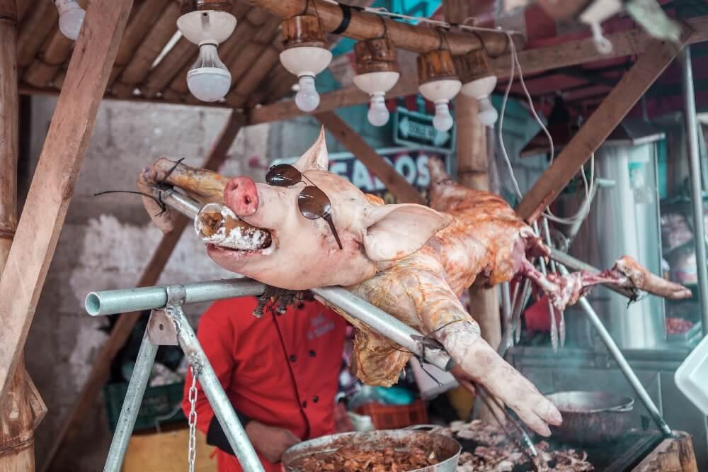 Drachenfest in Guatemala Spanferkel