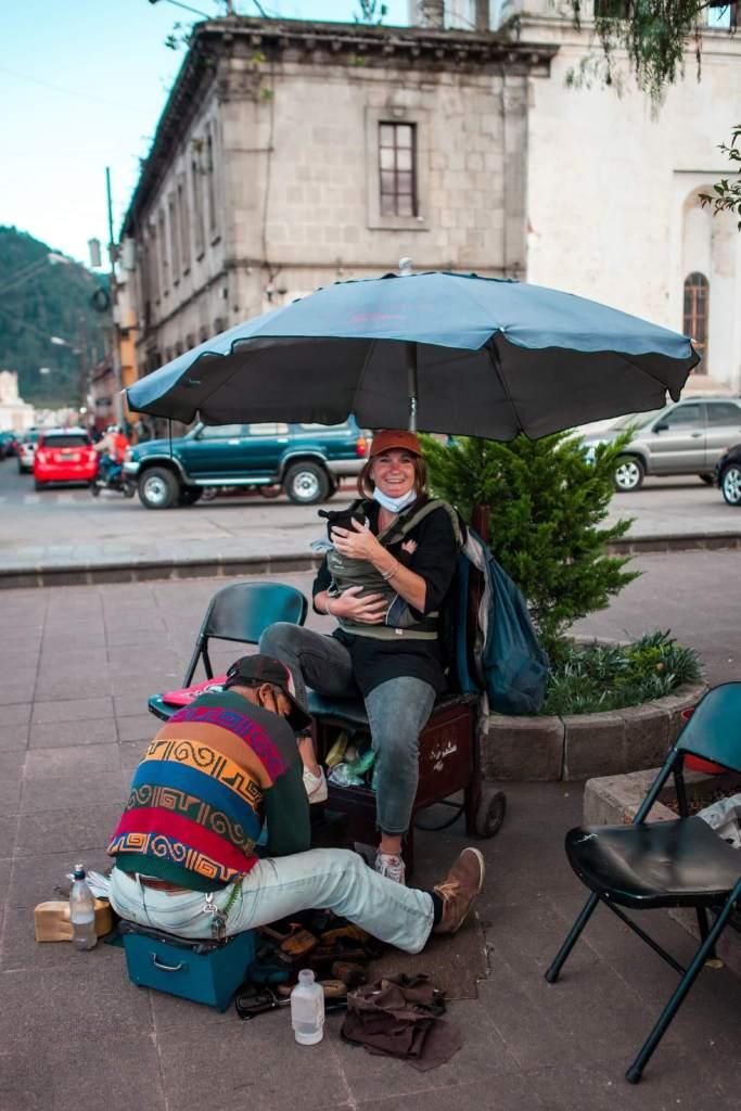 Quetzaltenango in Guatemala Schuhputzer