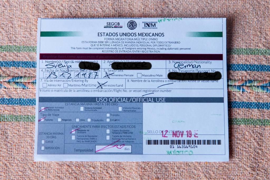 mit dem Auto über die Grenze von Guatemala nach Mexiko Einreiseformular