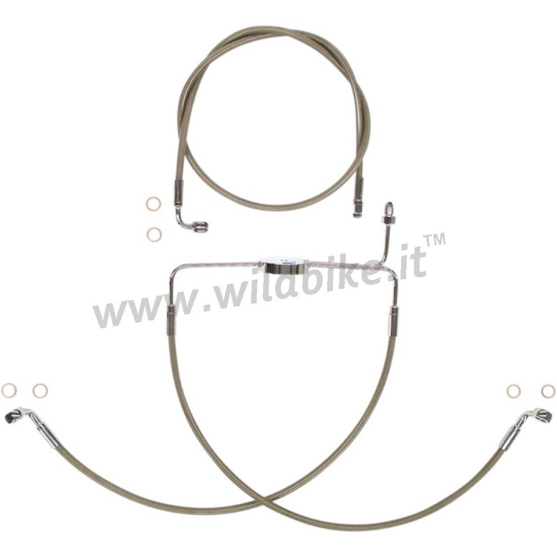 BRAKELINE KIT STAINLESS STEEL FRONT DUAL DISC NO ABS 21