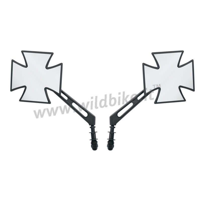 A BLACK MALTESE CROSS MIRRORS FOR HARLEY DAVIDSON AND