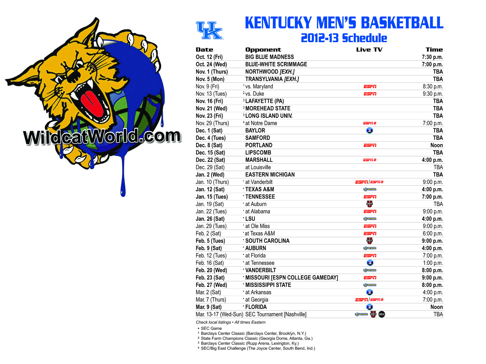 Uk Basketball Schedule: Download The New Kentucky Basketball Schedule As A Desktop