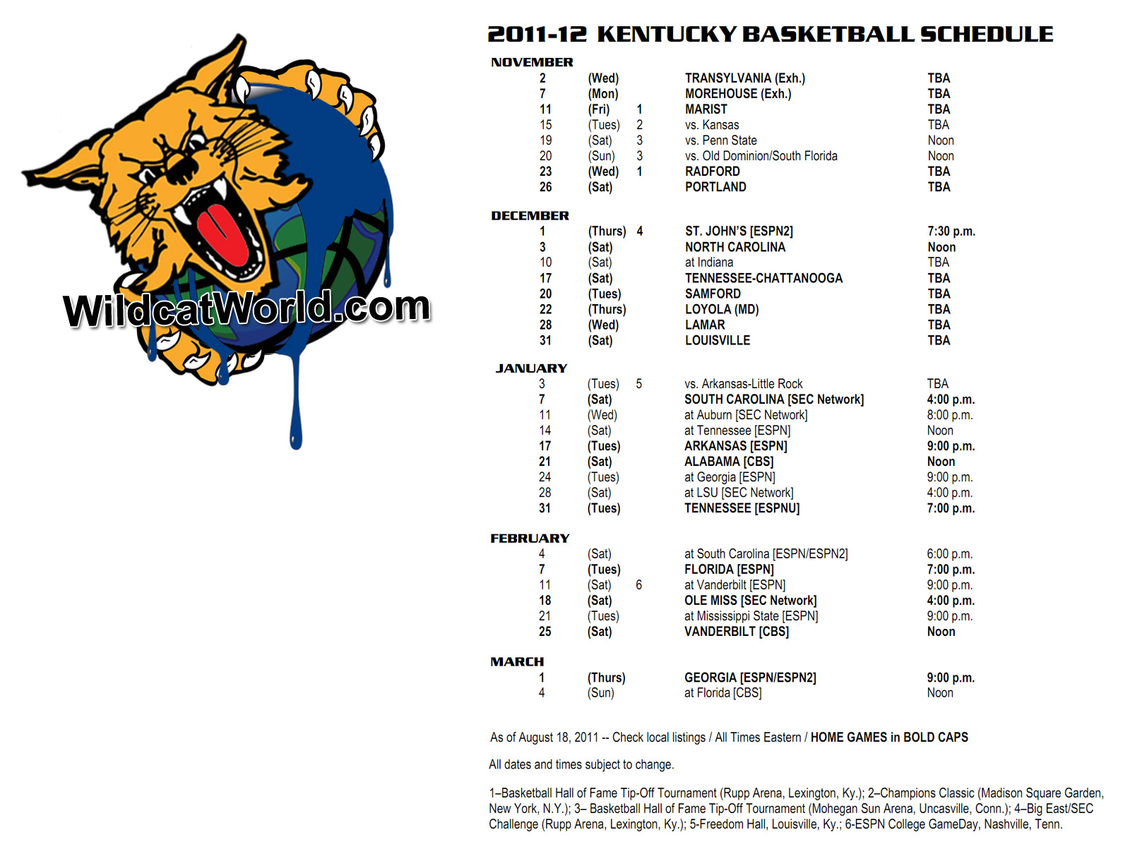 Uk Basketball Schedule: The 2011-2012 Kentucky Basketball Schedule As A Desktop