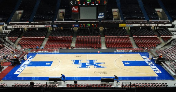 Kentucky's floor installed in Freedom Hall (with time lapse video)