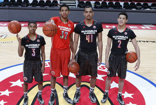 Tyler Ulis, Karl Towns, Trey Lyles and Devin Booker. Credit – The Courier Journal. By Tramaine Hicks