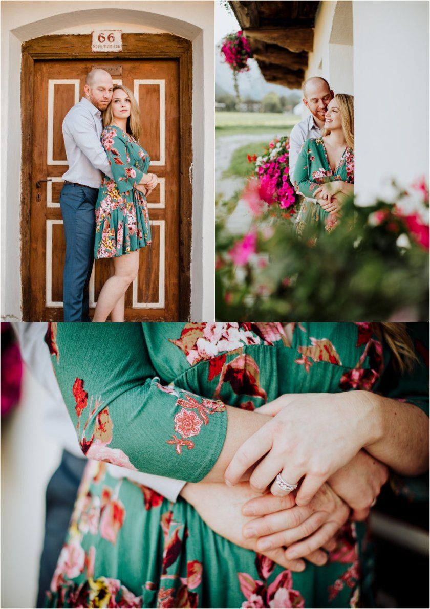 Closeup of Melanie & Jesse's hands as he embraces her
