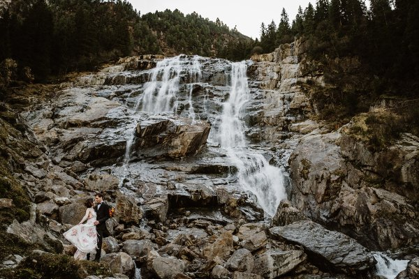 Waterfall elopement wedding in the Austrian Alps