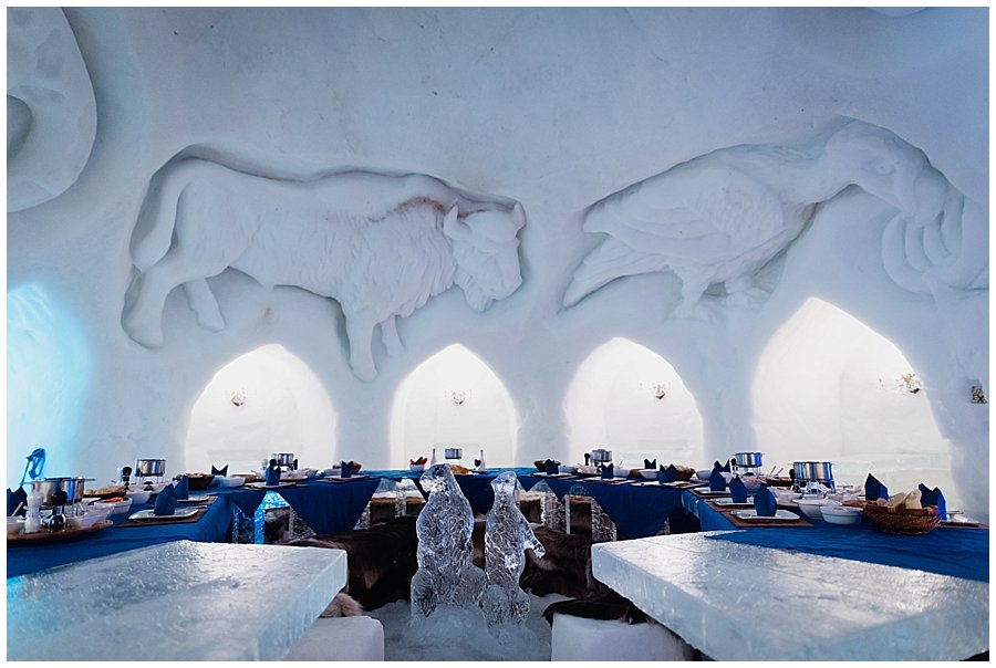 Igloo Wedding breakfast fondue in the Igloo at a giant ice table by Wild Connections Photography