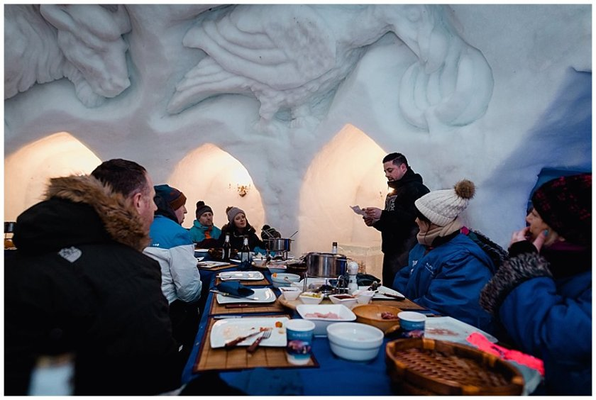 The brother of the bride makes a speech in the Igloo at dinner