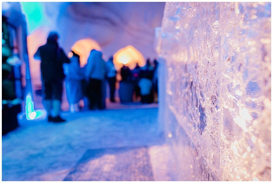 The guests gather back at the ice bar
