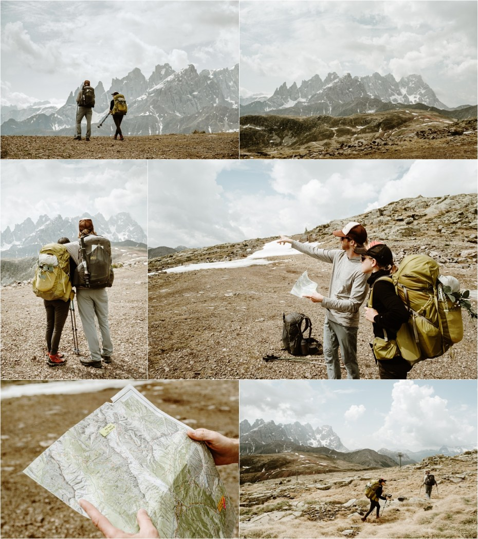 A Colorado couple hike through the Italian Dolomite mountains for the backpacking elopement. Photos by Wild Connections Photography