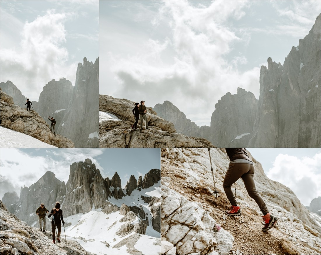 Hiking elopement in the Dolomites. Adam & Michelle hike to Cima Mulaz. Photography by Wild Connections Photography