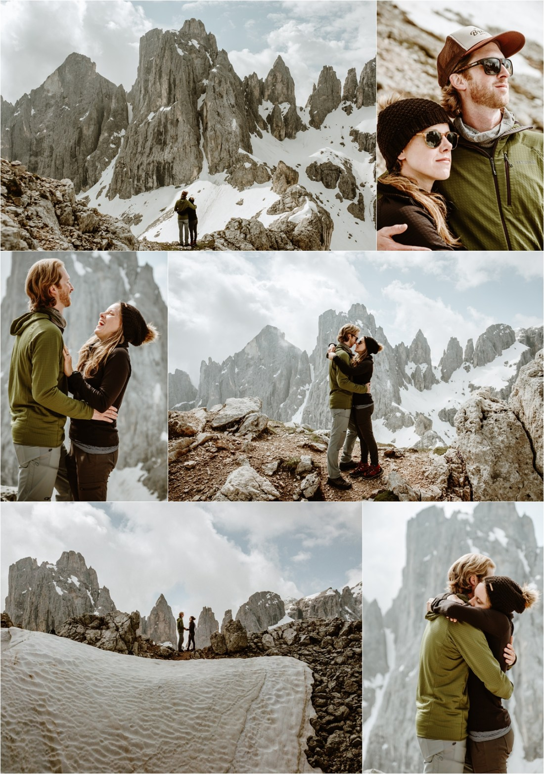 Adam & Michelle enjoying the views at the top of the Cima Mulaz in the Dolomites, the day before their elopement. Photography by Wild Connections Photography