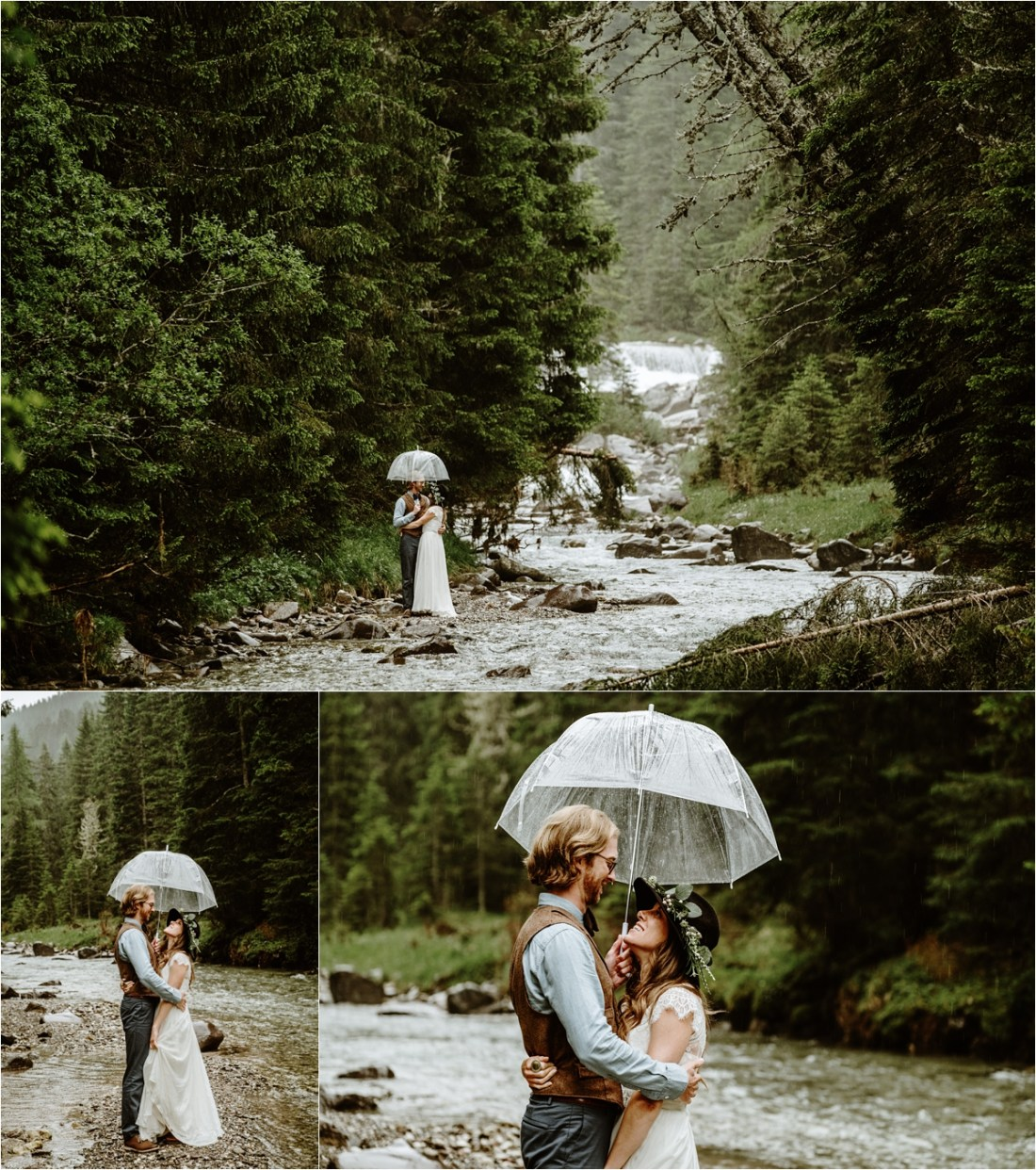 A rainy wedding day in the Dolomites, the bride and groom shelter under an umbrella next to a gushing river. Photography by Wild Connections Photography
