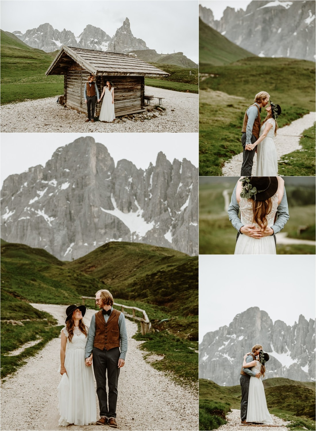 Early morning pictures for the bride and groom on Passo Rolle in the Dolomites. Photography by Wild Connections Photography
