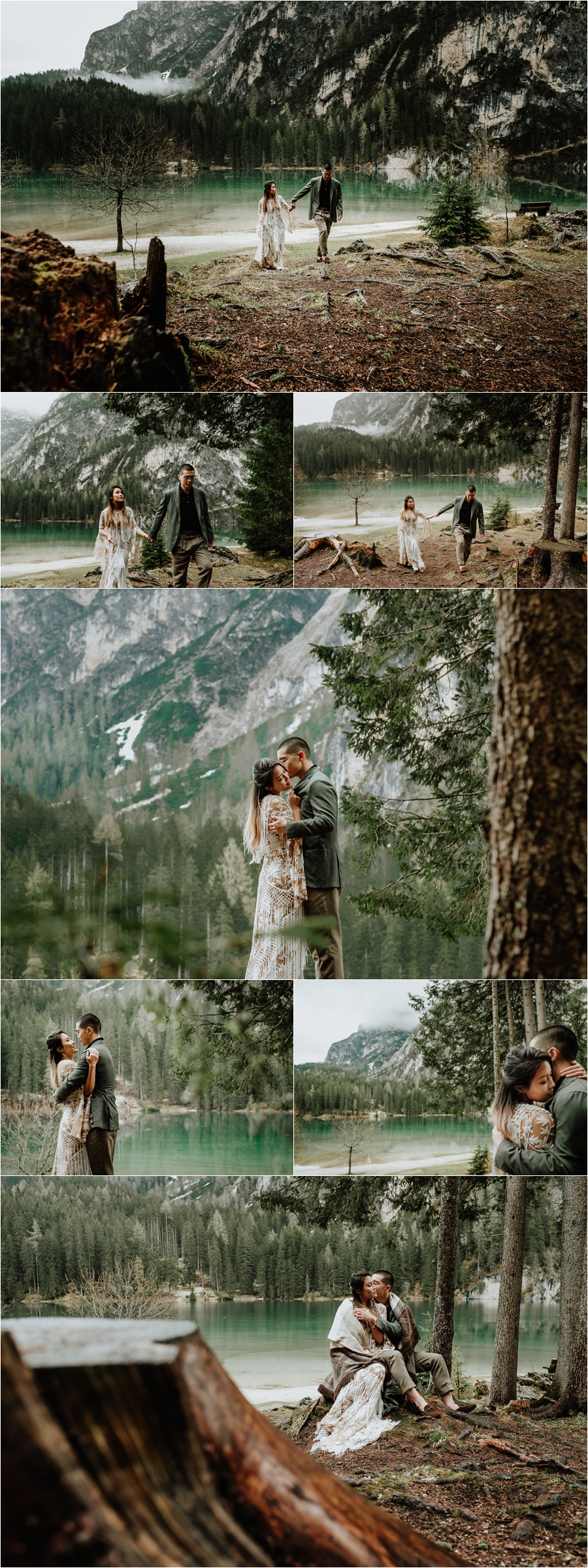 A Dolomites Pre-Wedding Engagement Shoot At Lago Di Braies, also known as the Pragser Wildsee by Wild Connections Photography