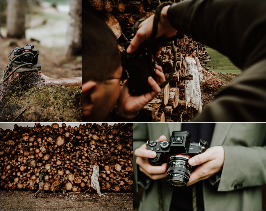 Ted photographs his future wife during their enagement shoot in the Dolomites by Wild Connections Photography