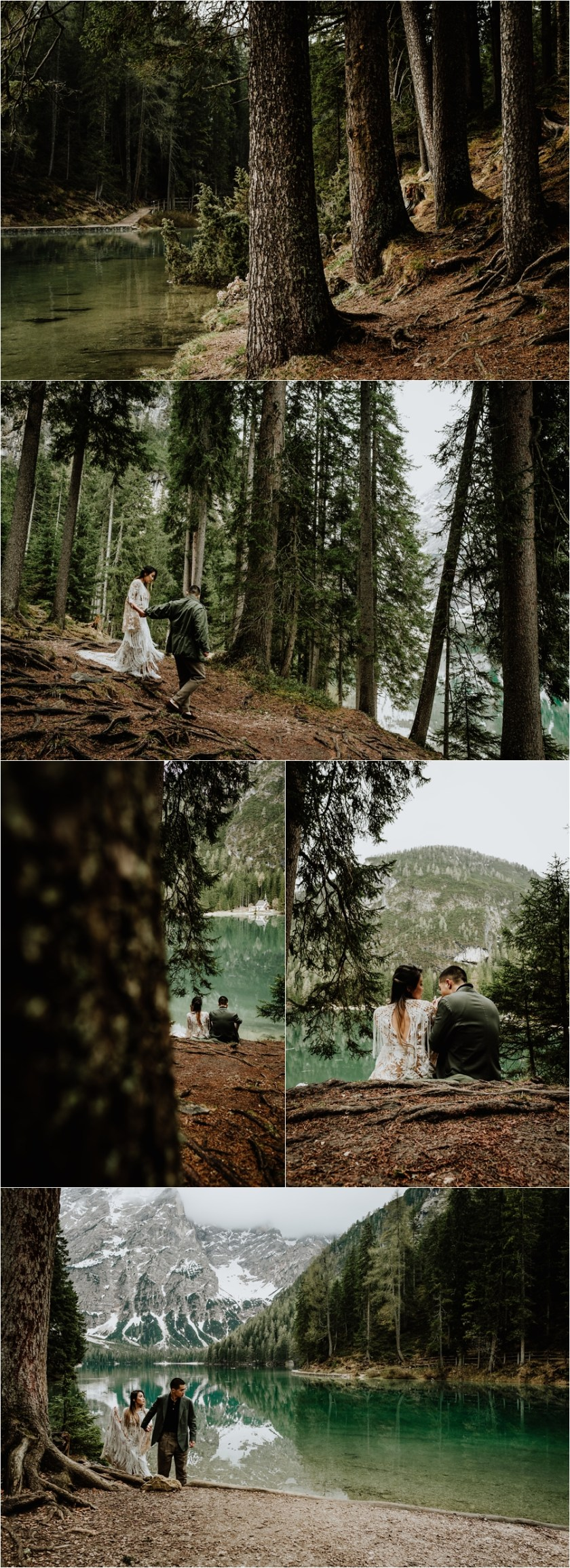 Boho pre-wedding shoot at Lake Braies in the Dolomites in Italy by Wild Connections Photography