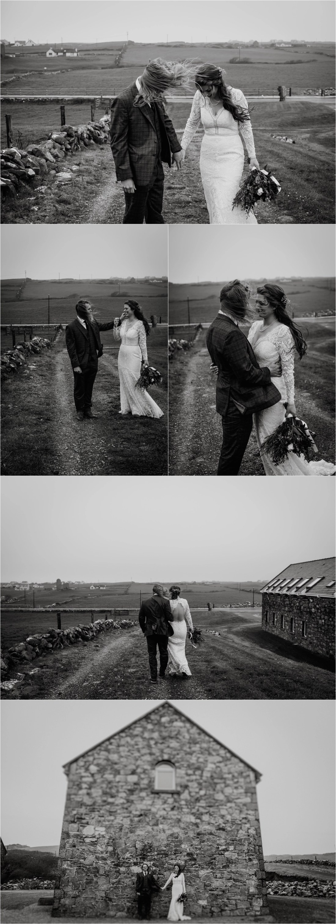 Black & White pictures of an emotional pre-elopement first look in Doolin Ireland. Photos by Europe Elopement Photographer Wild Connections Photography