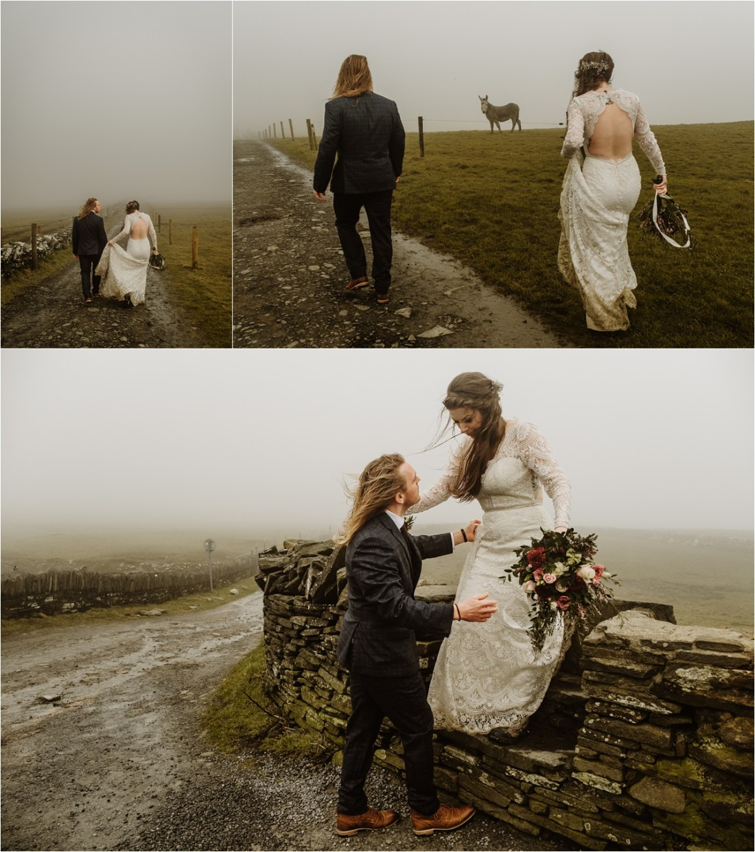 Hiking a foggy path after their elopement at the Cliffs of Moher, Elizabeth and Matt walk back to Doolin. Photos by Europe Elopement Photographer Wild Connections Photography