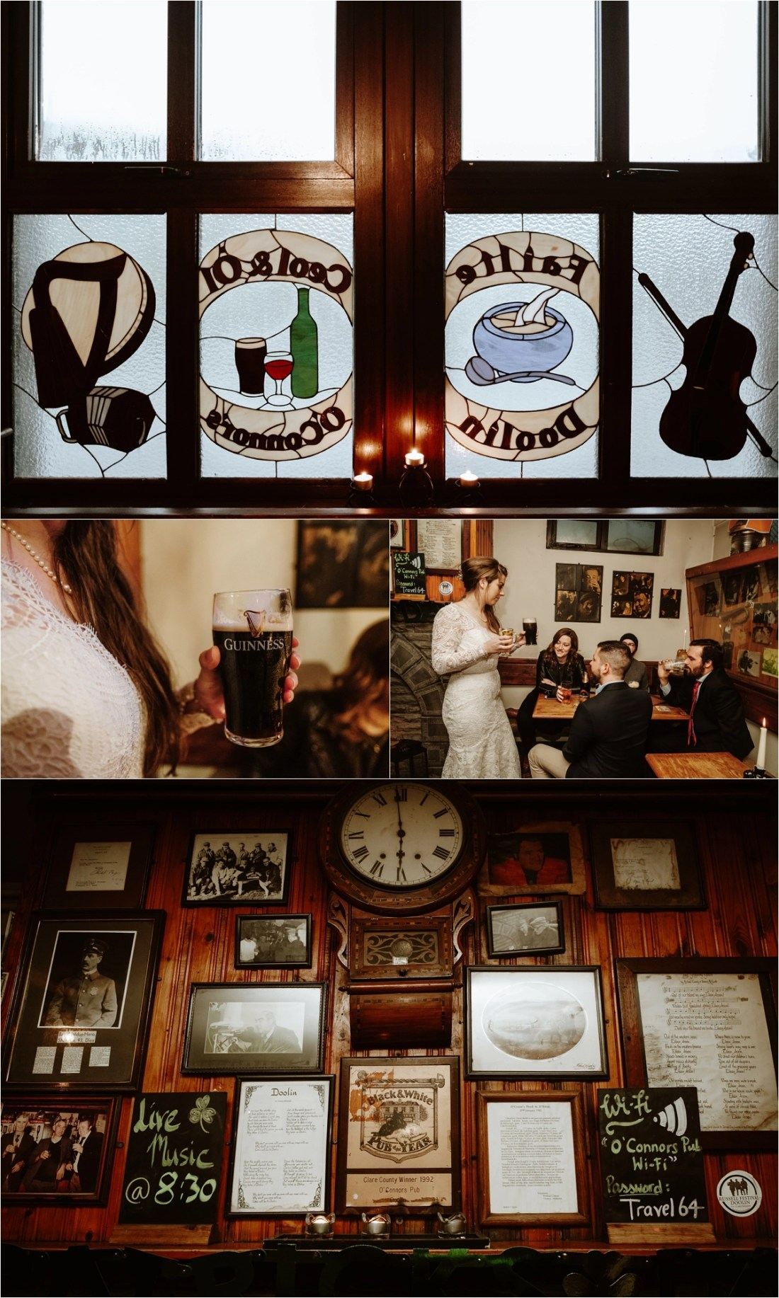 A wedding reception in an Irish pub, Elizabeth & Matt celebrate their Irish Elopement. Photos by Europe Elopement Photographer Wild Connections Photography