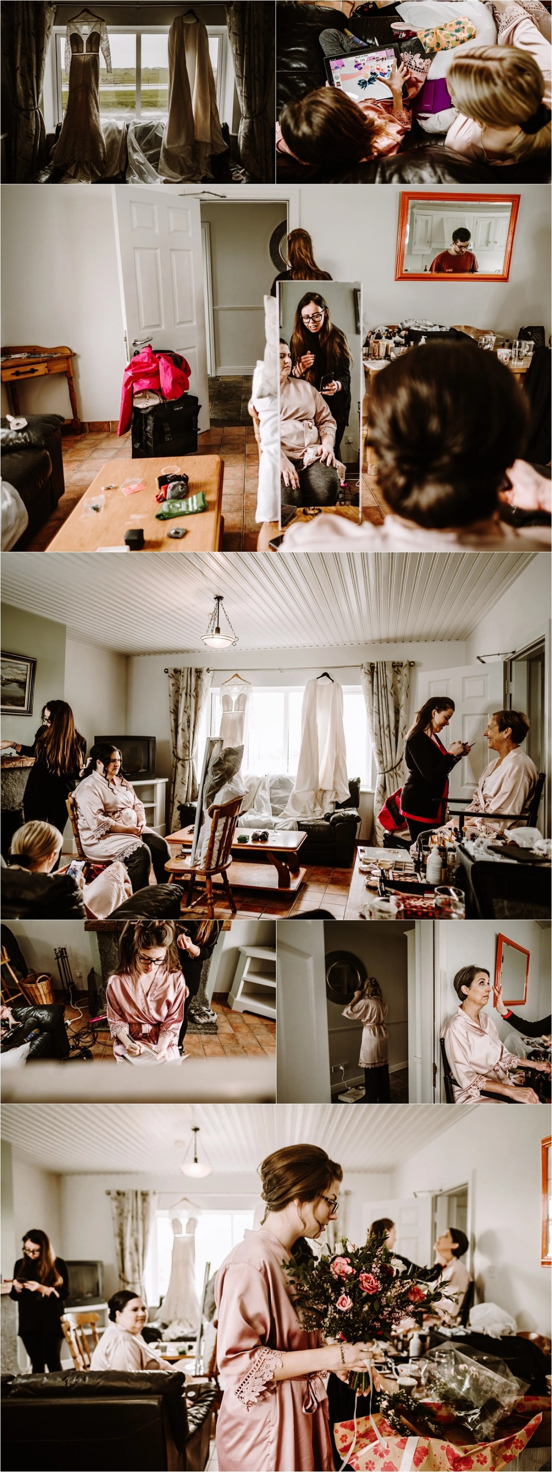 Bride prep at Doolin Lodge in Ireland. Photos by Europe Elopement Photographer Wild Connections Photography