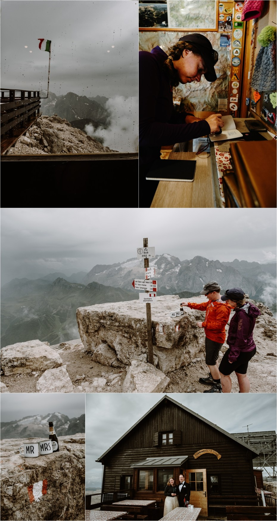 Bride and groom toast with prosecco on the summit of the Piz Boe in the Dolomites. Photo by Wild Connections Photography