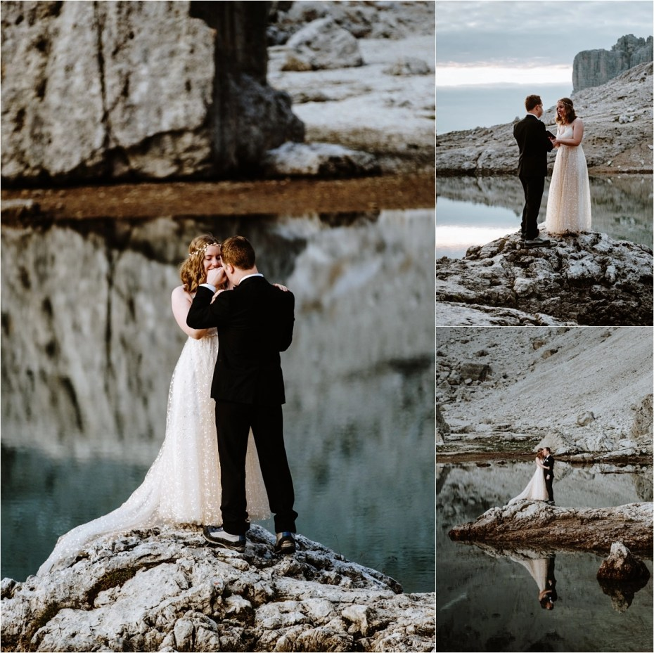 An elopement ceremony in Colfosco in the Dolomites. Photo by Wild Connections Photography