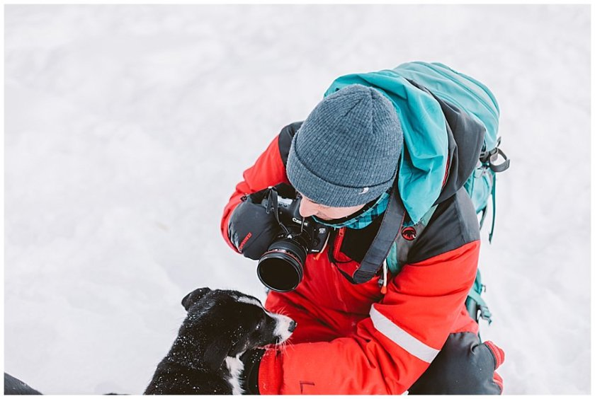Wingrens Husky Safari Lapland a puppy comes over to greet Menno