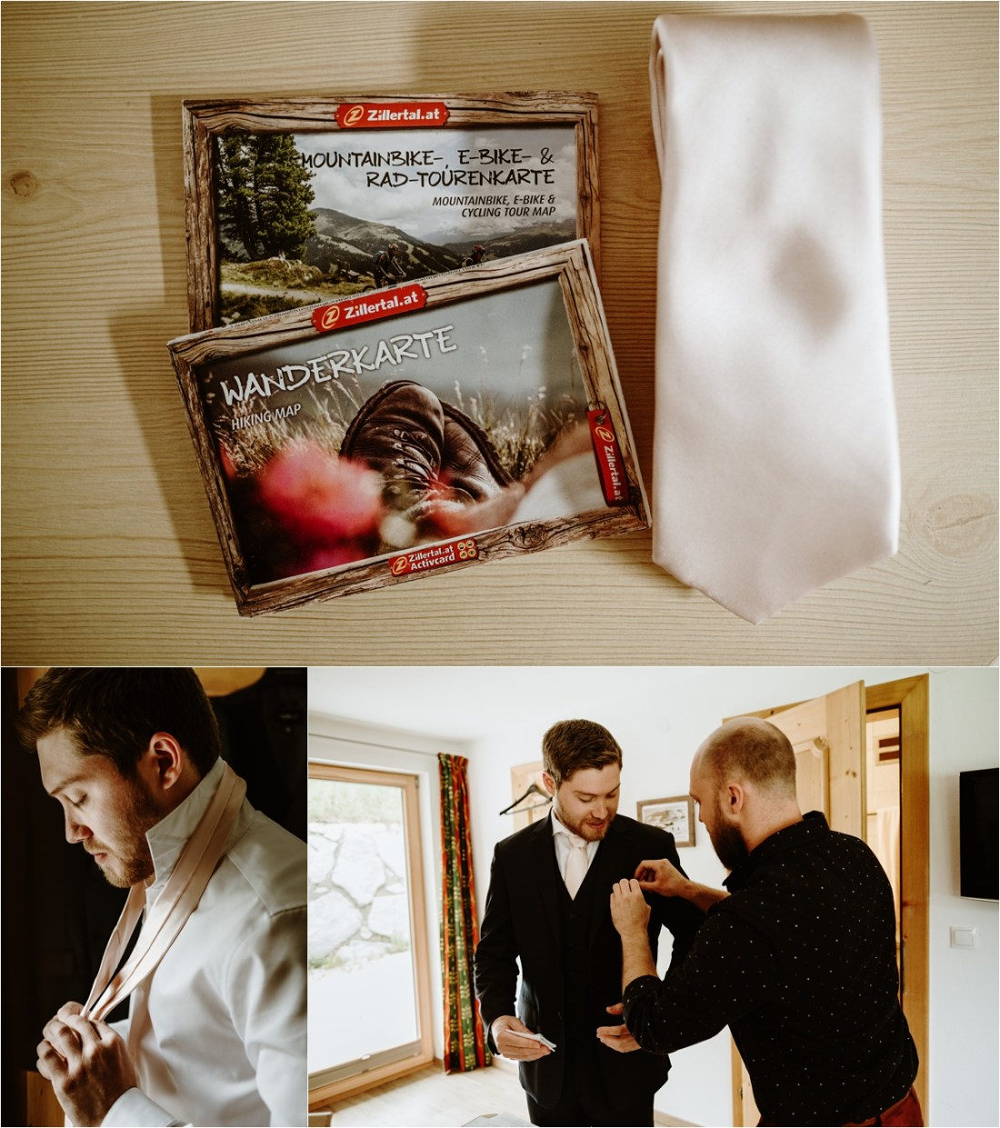 Groom preperations at the Hottererhof mountain chalet in Austria. Photos by Wild Connections Photography